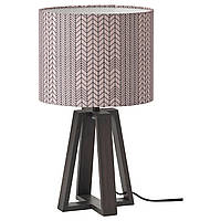 IKEA LAKAFORS Настольная лампа, темно-коричневый/деревянный/темно-розовый черный (104.863.03), фото 1