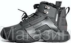 Мужские зимние кроссовки Nike Huarache ACRONYM City Winter Найк Аир Хуарачи Акроним С МЕХОМ черные