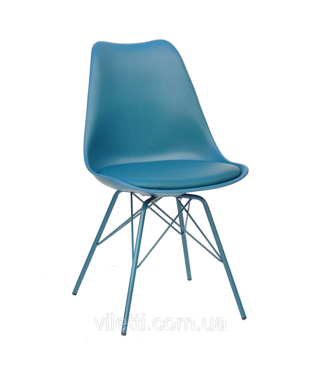 Зелений стілець на металевих ніжках Milan One з суцільнолитим пластиковим сидінням з подушкою
