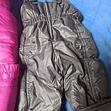 Зимний теплый костюм для девочки. В комплект входит куртка на меху малинового цвета и штаны- полукомбинезон., фото 4