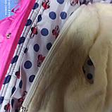 Зимний теплый костюм для девочки. В комплект входит куртка на меху малинового цвета и штаны- полукомбинезон., фото 3