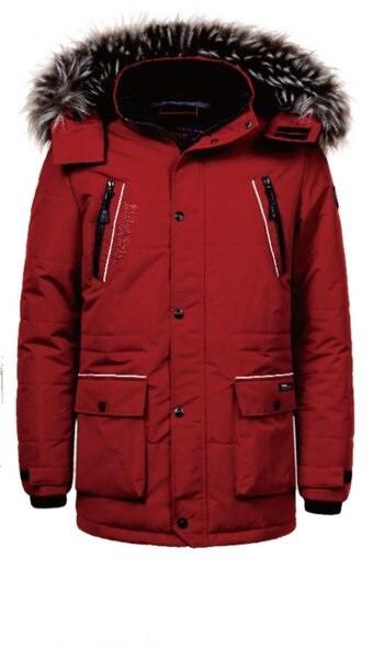 Мужская зимняя бордовая куртка с меховым капюшоном