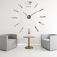 """Настенные часы 3D Большие """"TimeLine""""- часы наклейка с зеркальным эффектом, необычные настенные часы стикеры"""