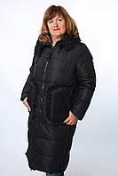 Женский пальто пуховик Mishele 20011 черного цвета, пуховики больших размеров р.52