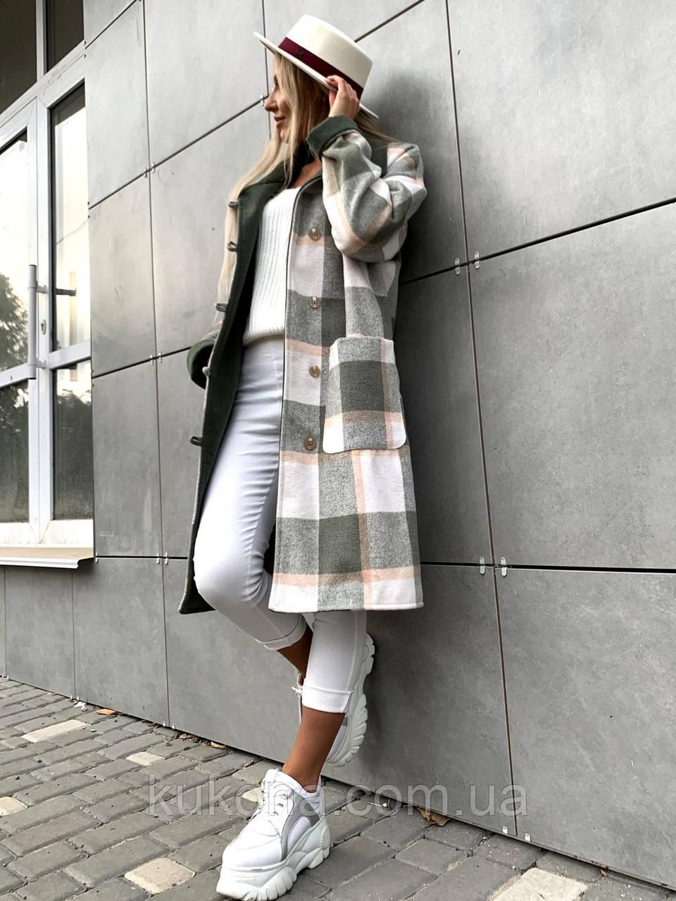 Пальто в клетку кашемировое женское. Размер: 42-46. Цвет: мокко, оливка.