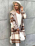 Пальто в клетку кашемировое женское. Размер: 42-46. Цвет: мокко, оливка., фото 2