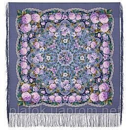 Восходящее солнце 1920-15, павлопосадский платок шерстяной  с шелковой бахромой