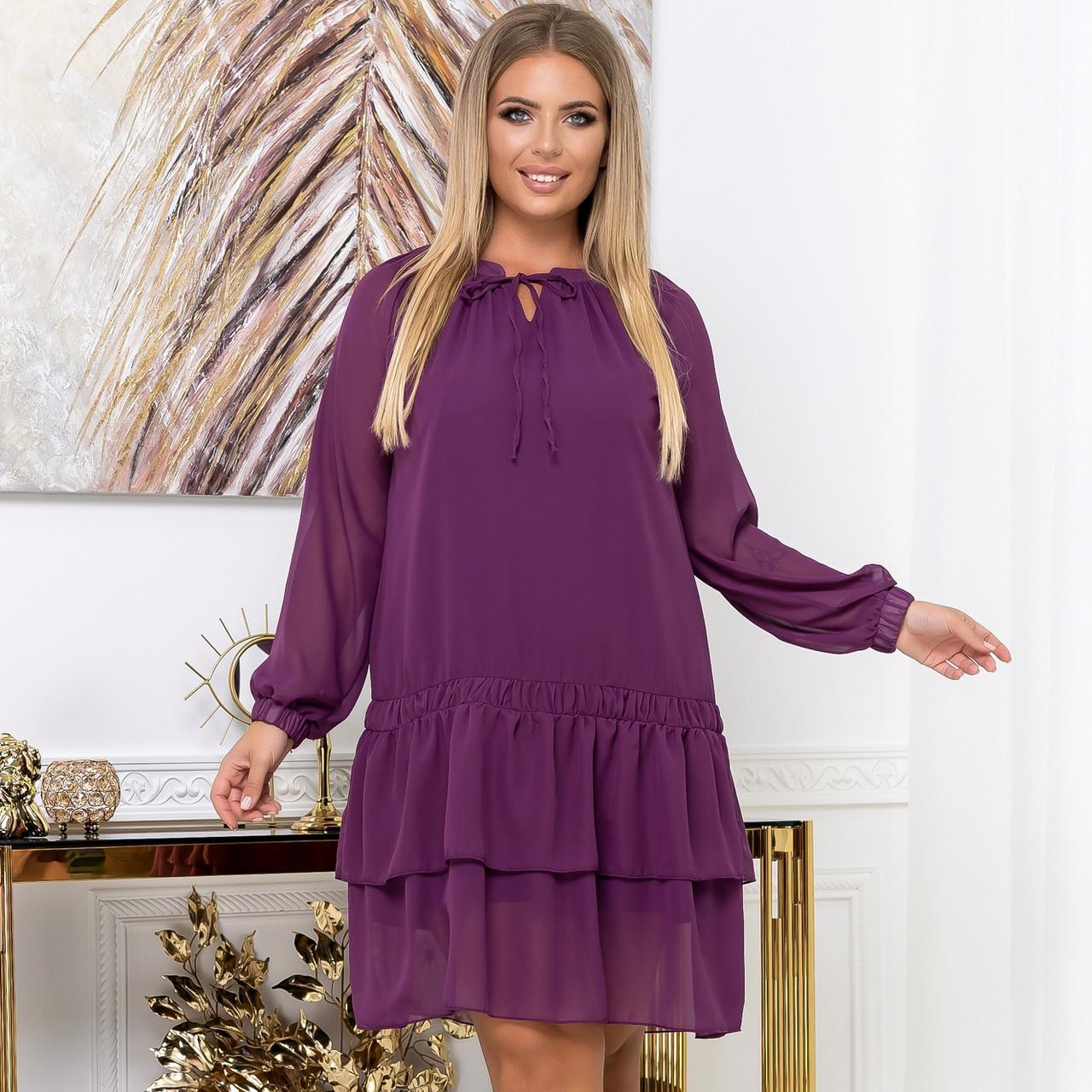 Шифоновое платье с воланом