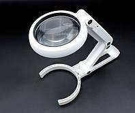 Лупа трансформер ручная с LED подсветкой и увеличительным стеклом HLV FS75RC White