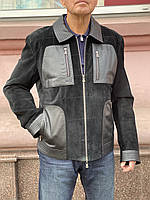 Куртка Adamo мужская кожа/замша натуральная короткая черная на молнии