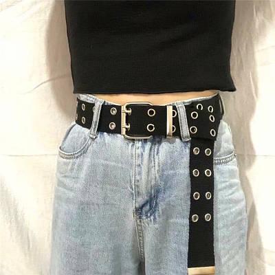 Ремень холщевый черный женский мужской текстильный пояс c заклепками с дырками