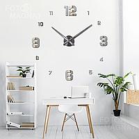 """Часы 3D настенные большие """"Realm"""" - 3Д часы наклейка с зеркальным эффектом, необычные настенные часы стикеры"""