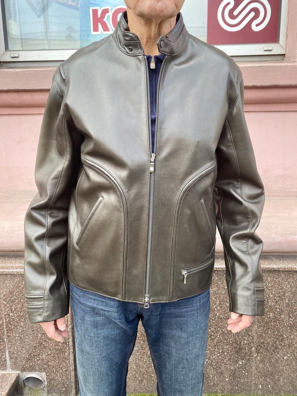 Куртка мужская кожаная натуральная короткая оливковая на молнии ворот стойка