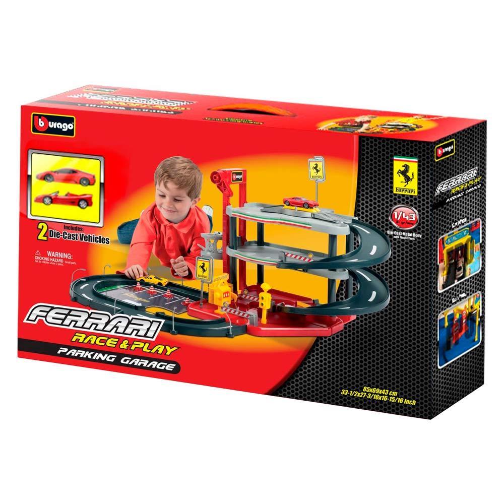 Игровой набор Bburago Гараж Ferrari (3 уровня, 2 машинки 1:43)