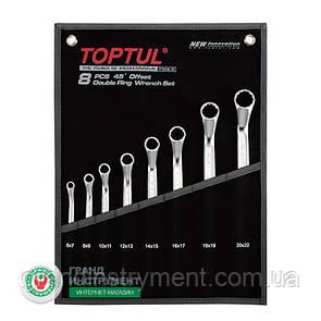 Набір накидних ключів гайкових, інструменту для автомобіля кут 45° 6-22мм 8ед. TOPTUL GPAH0804