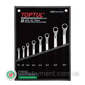 Набор накидных ключей, гаечных, инструмента для автомобиля угол 45° 6-22мм 8ед. TOPTUL GPAH0804
