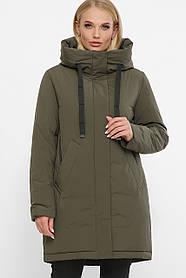 Женская зимняя куртка  до колен на пуху, цвет хаки, большого размера от 48 до 56