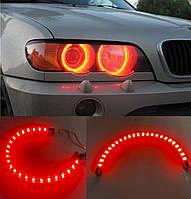 LED светодиодные красные глазки 27 см! Гибкие влагозащищенные ленты для фар, задних стопов, на бампер