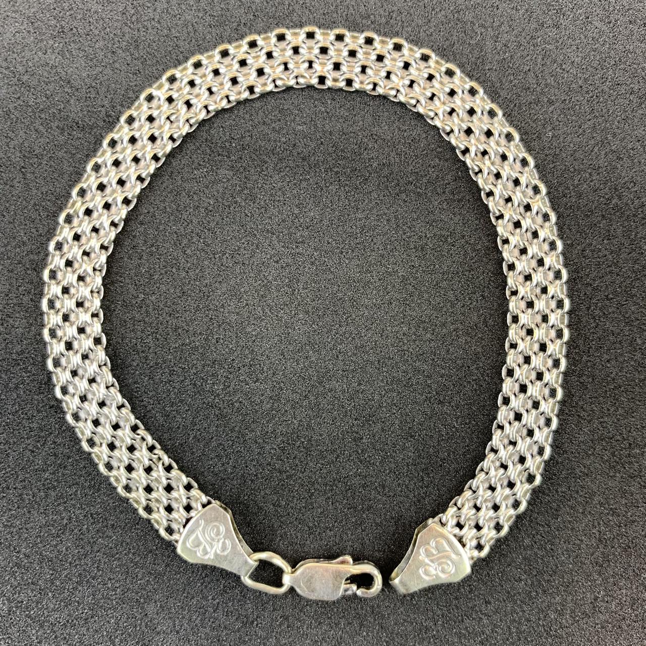 Серебряный браслет Б/У 925 пробы, плетение фантазийное, длина 19.5 см, вес 8,18 г. Серебро из ломбарда