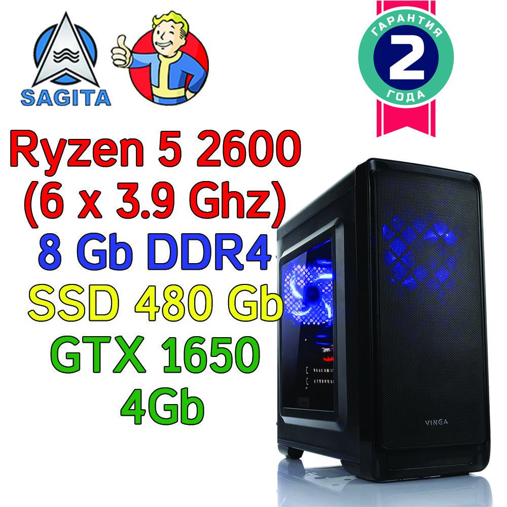 Игровой компьютер / ПК ( Ryzen 5 2600 (6 x 3.9GHz) / B450 / 8Gb DDR4 / SSD 480Gb / GTX 1650 4Gb / 500W)