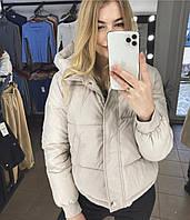 Демисезонная куртка женская короткая холофайбер (Норма) светлый беж