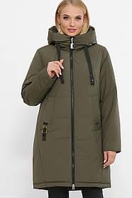 Красивая женская зимняя куртка-пуховик, цвет хаки в клетку, большого размера от 48 до 56