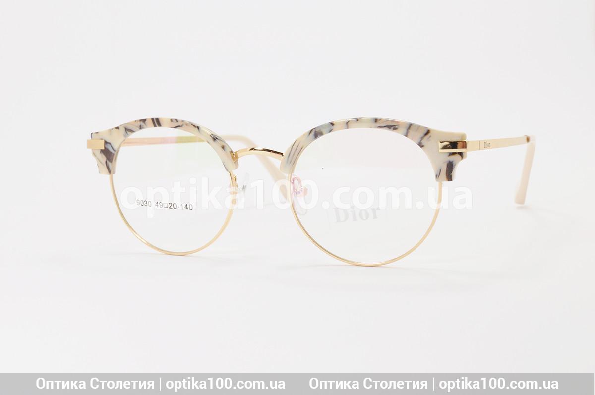 Женская круглая золотистая оправа. Очки в стиле Dior