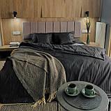 Комплект постельного белья из страйп - сатина Турция, постельное белье 100% хлопок тёмно-серого цвета, фото 2
