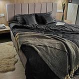 Комплект постельного белья из страйп - сатина Турция, постельное белье 100% хлопок тёмно-серого цвета, фото 3
