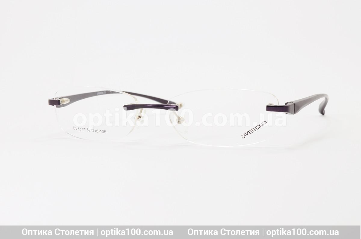 Безободковая жіноча оправа для окулярів. Темно-фіолетова. Дужки на флекс-системі