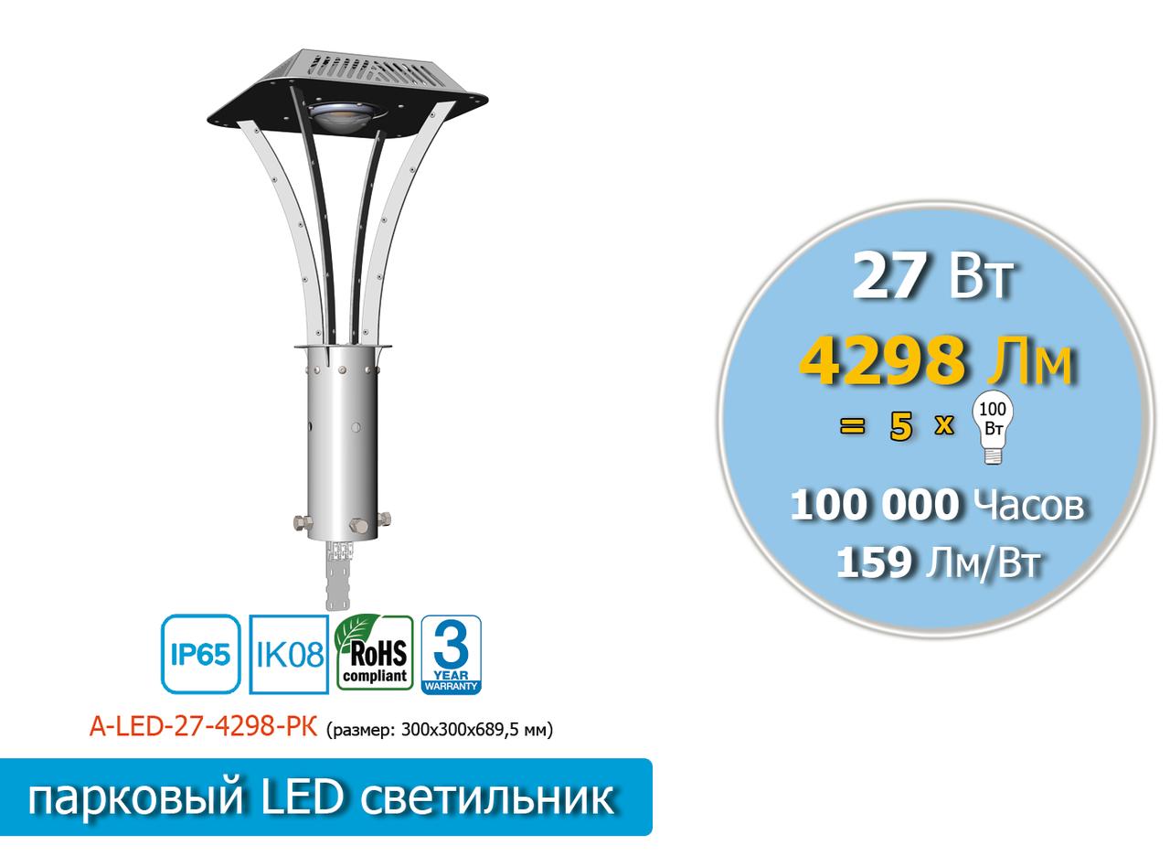 Парковый LED светильник  27W, 4298 Lm, 5000К, IP65 ( аналог паркового светильника НТУ-08-150)