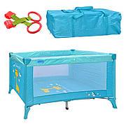 Детский манеж  M 0526. Цвет голубой, в комплекте сумка. Размеры:  65-120-72 см