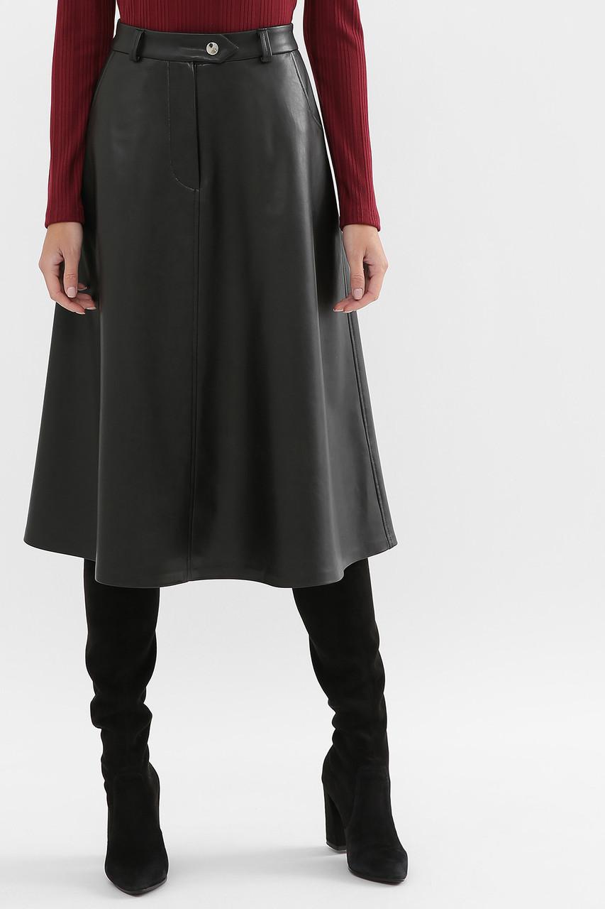 Расклешенная юбка миди экожа черная
