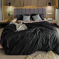 Комплект постельного белья из страйп - сатина 100% хлопок, постельное белье цвета графит и персиковый Двуспальный
