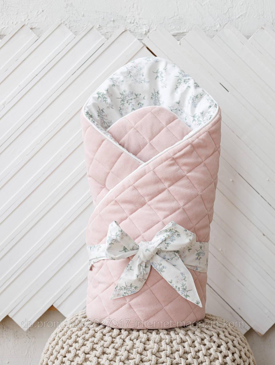 Велюровий конверт-ковдру на виписку MagBaby демисезон Tessera рожевий