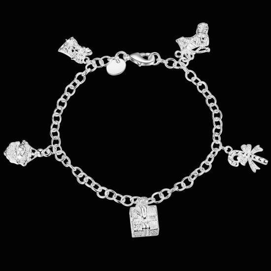 Посріблений новорічний браслет з підвісками у сріблі 925