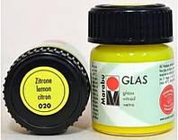 Краска витражная Marabu Glas на водной основе холодной фиксации лимонный 15мл (4007751471468)