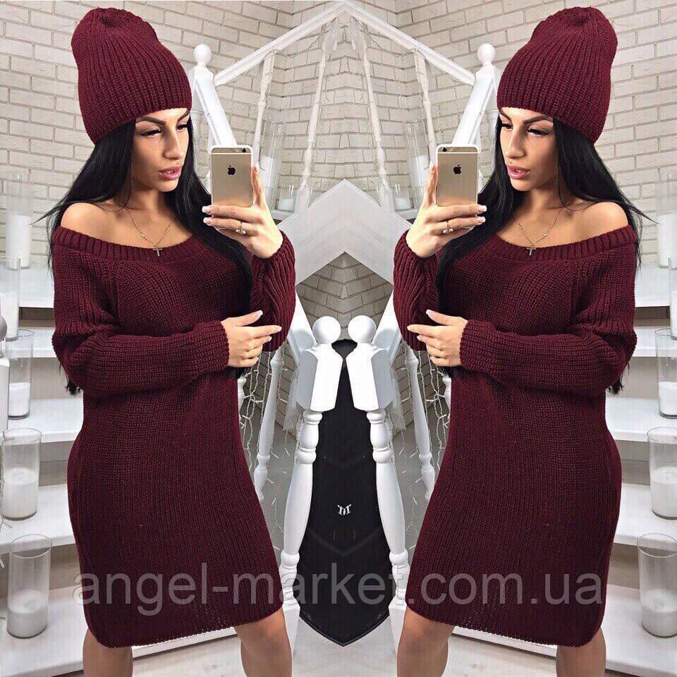Теплое платье вязаное+шапка новинка 2020