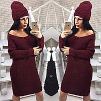 Теплое платье вязаное+шапка новинка 2020, фото 1