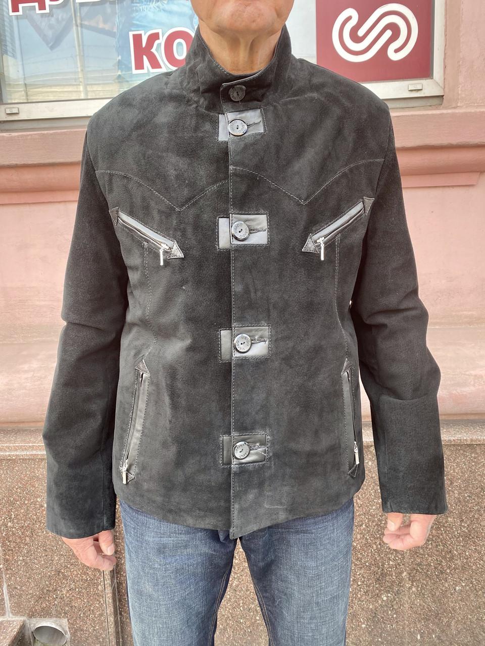 Куртка мужская замша натуральная короткая черная на пуговицах демисезонная