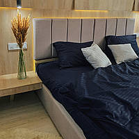 Комплект постельного белья из страйп - сатина 100% хлопок, постельное белье синего цвета Двуспальный