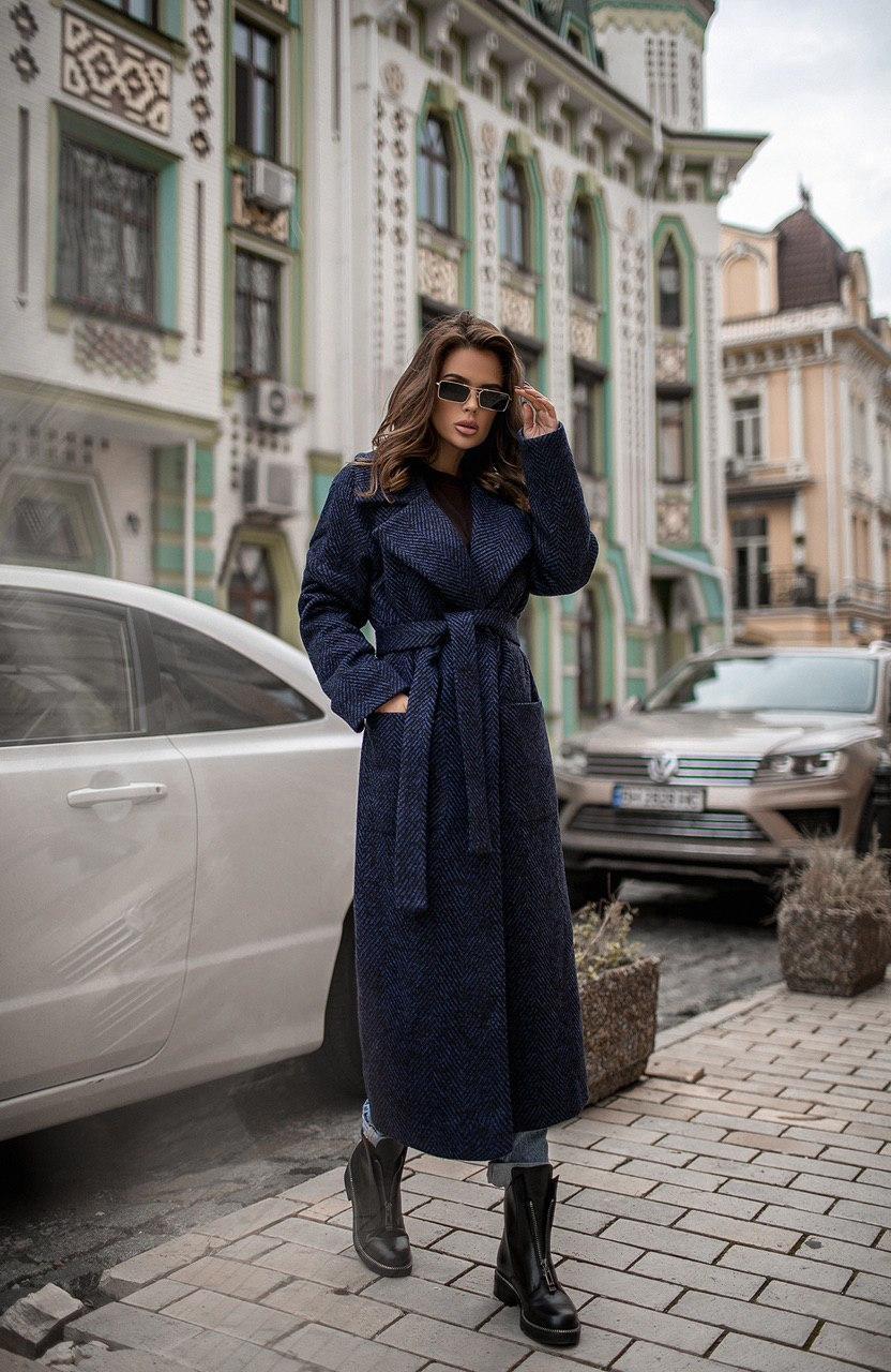 Демісезонне пальто темно-синє