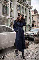 Демісезонне пальто темно-синє, фото 1