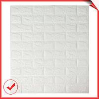 Декоративная самоклеющаяся 3D ПВХ панель для стен под кирпич белый 700x770x7мм