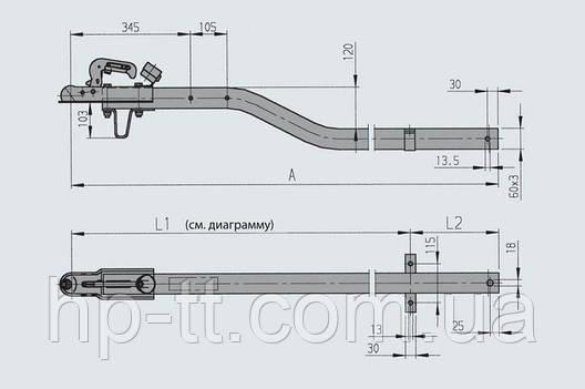 Дышло согнутое на 120 мм, 60*60 комплект (сцепное устройство с индикатором, держатель штекера, опорная скоба), фото 2