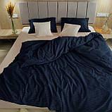 Комплект постельного белья из страйп - сатина 100% хлопок, постельное белье синий + персиковый Двуспальный, фото 2