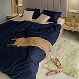 Комплект постельного белья из страйп - сатина 100% хлопок, постельное белье синий + персиковый Двуспальный, фото 3