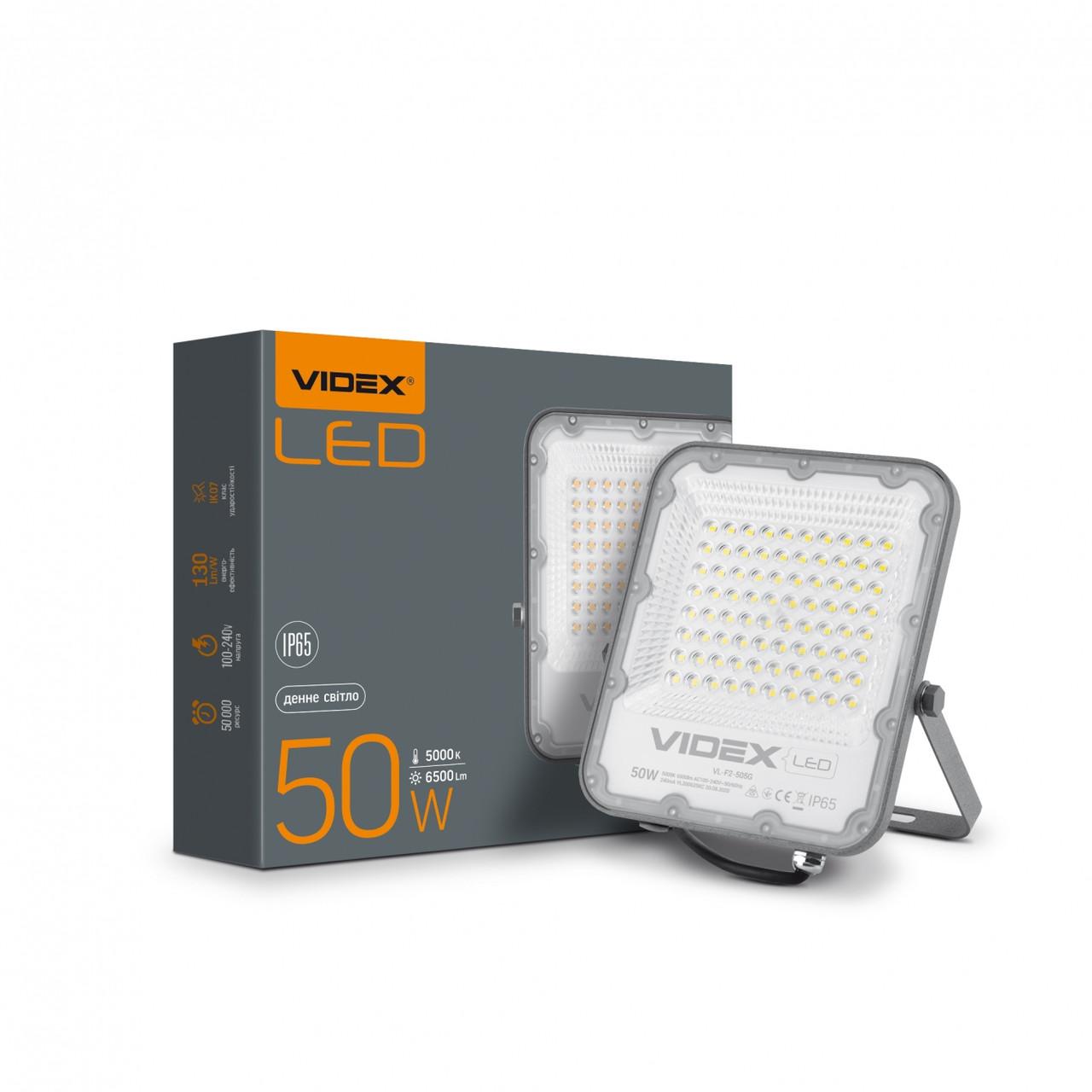 LED прожектор VIDEX PREMIUM 50W 5000K 220V Gray VL-F2-505G 25958