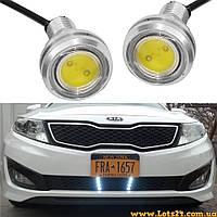 2шт LED линзы 23мм 9W (дневные ходовые огни светодиодные, ДХО, DRL, орлиный глаз)