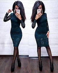 Красиве мереживне плаття з довгим рукавом